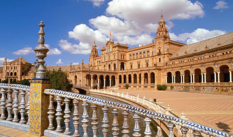 андалусия, испания, центр, площадь, севилья, plaza, españa, картинка,