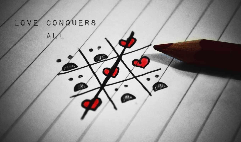 любовь, крестики-нолики, сердце, карандаш, бумага