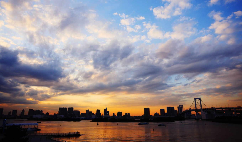 япония, tokyo, море, закат, небо, город, облака, мост,