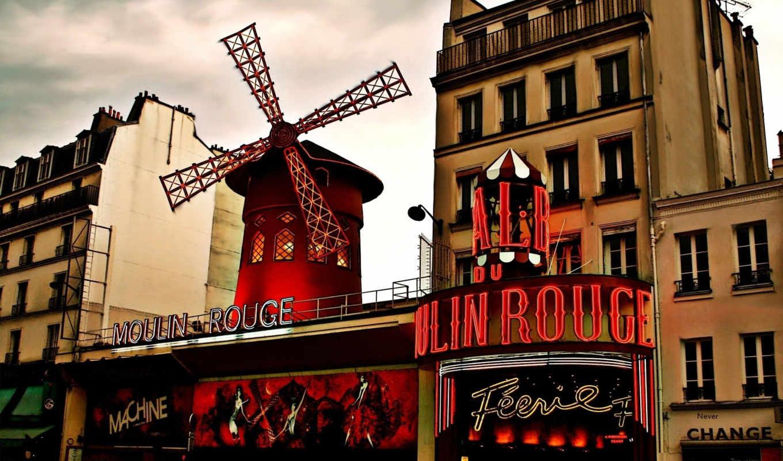 moulin, rouge, картинка, город, париж, буквально, франция,