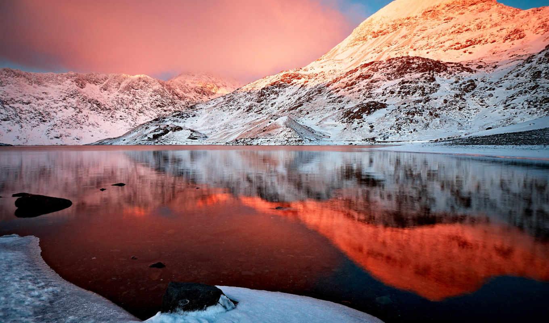 природа, озеро, гора, горы, небо, landscape, oblaka, desktop, winter,
