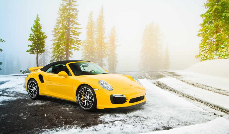 porsche, turbo, дорога, cabriolet, yellow, авто, суперкар, ёль, стоит,
