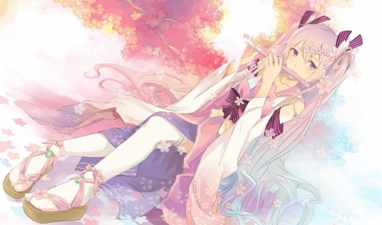 anime, miku, hatsune, vocaloid, animacity, девушка, дерево, nyan, art, Сакура,