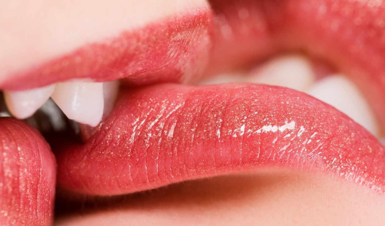 поцелуй, губы, помада, блеск,
