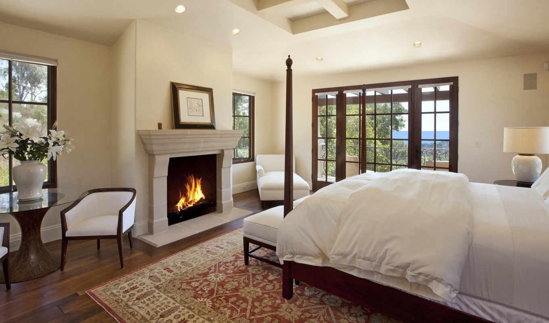 спальня, камин, master, тв, стена, кровать,