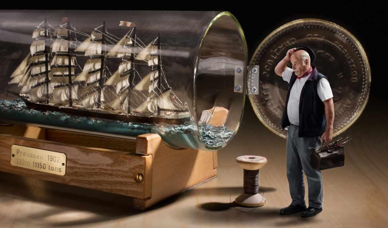 бутылке, бутылка, корабль, сделать,