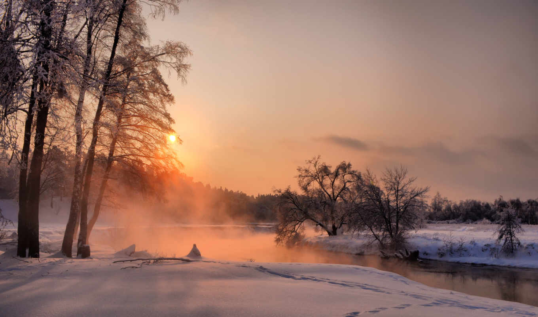 природа, красивые, slave, зимние, солнца, rising, июль, зимнее, утро, природы,