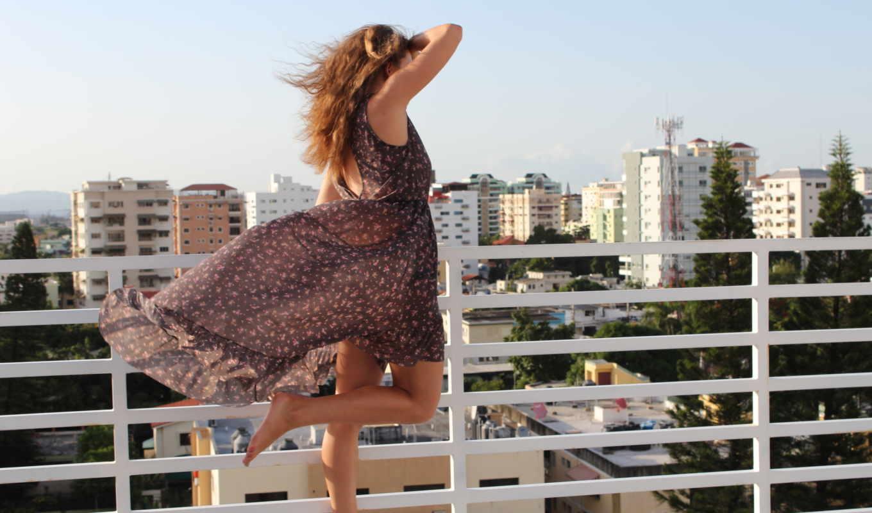 девушки, девушка, ветер, крыша, платье, маленькая, то, friday, среда,