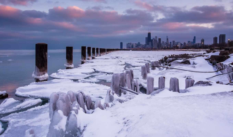 chicago, winter, bean, лед,