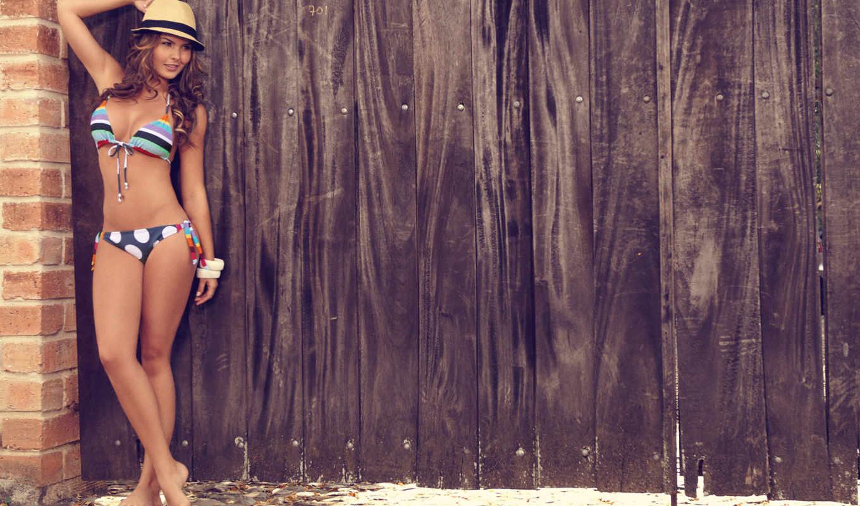 melissa, забор, giraldo, шляпа, девушка, бикини, blonde, сделать,