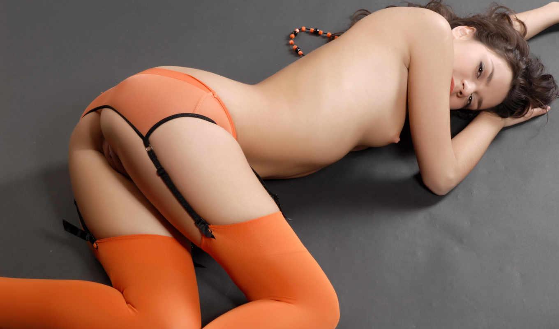девушка, ass, girls, stockings, красивый, оранжевый, без, попку, чулках,