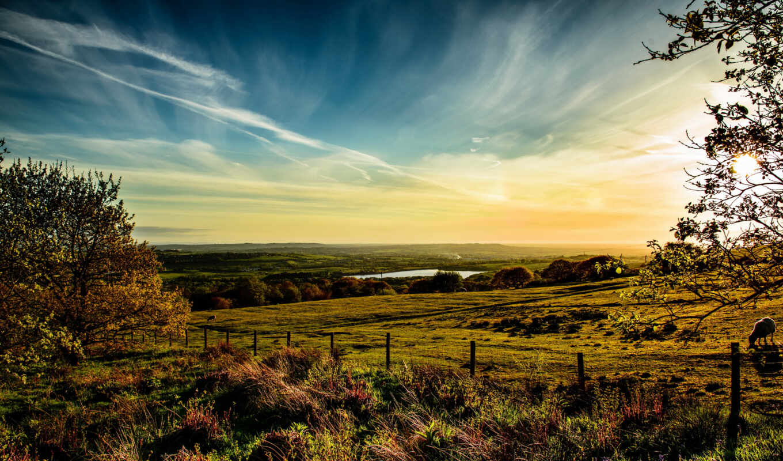англия, небо, oblaka, трава, horwich, луга,