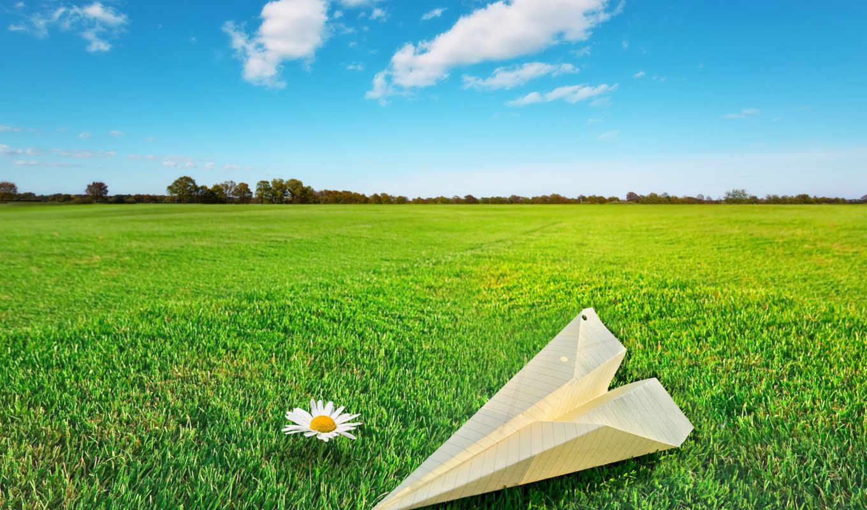 небо, природа, фон, трава, поле, бумага, самолёт,