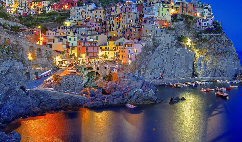 italian, manarola, liguria, amalfi, italia, ночь, город, краски, чинкве,