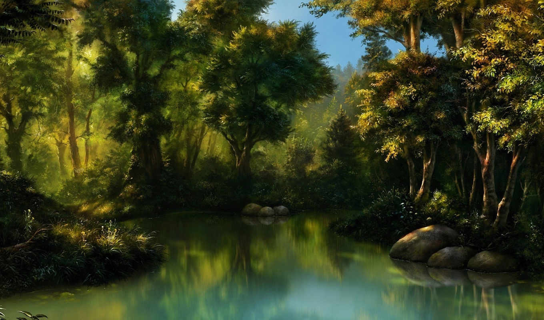 арт, лес, обои, чаща, вода, болото, камни, quot, a