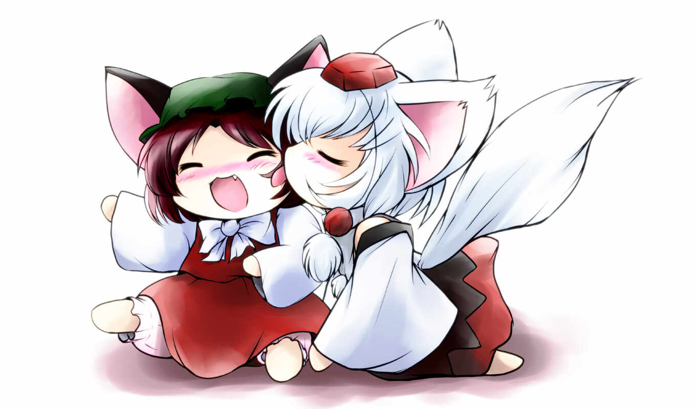 chibi, kids, fox, anime, animal, chen, ears, girls, girl,