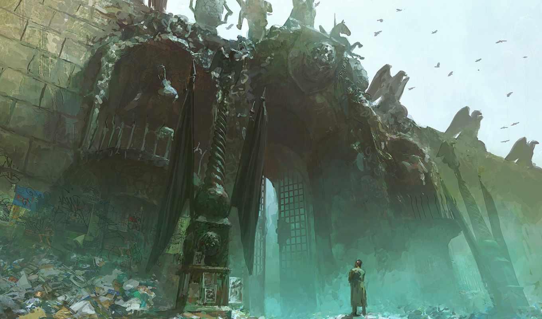 art, fortress, castle, мужчина, gate, статуй, input,