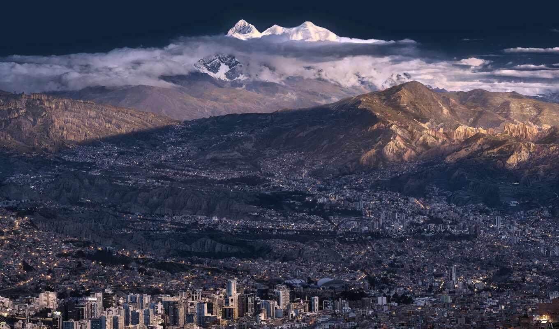 гора, bolivia, город, cityscape
