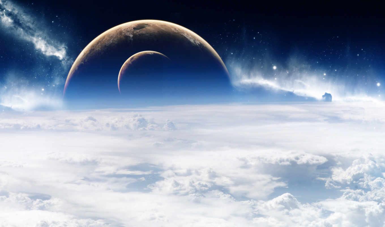 космос, облака, планета, space, атмосфера, планеты, chan, art, wallpapers, луна,
