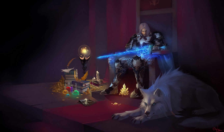 магия, кристалл, трон, девушка, арт, glory,