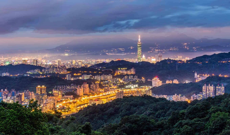 taiwan, taipei, china, город, вечер, горы,
