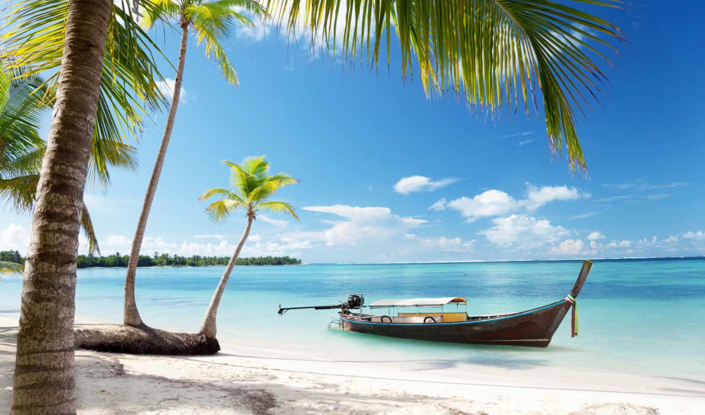 пляж, blue, море, рай, tropical, побережье, небо, emerald, sunshine,