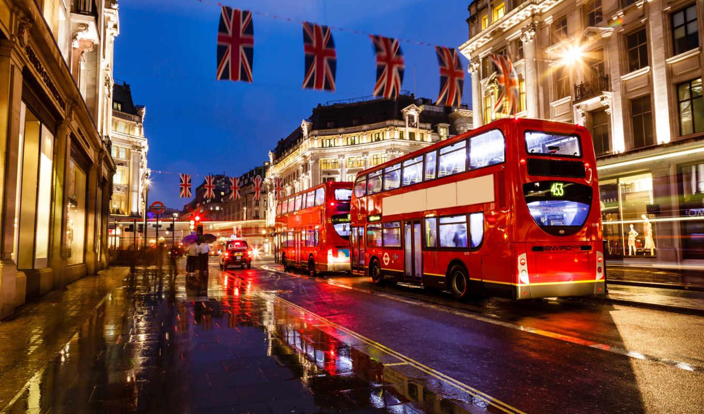 англия, ночь, london, огни, улица, bus, город, дорога, размытость,
