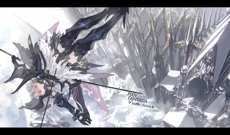 anime, fantasía, pixiv, manga, desktop, tags, red, wings, eyes,
