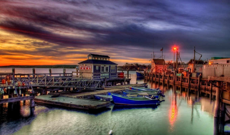 plymouth, widescreen, облаках, небо, природа, landscape, закат, hdr,