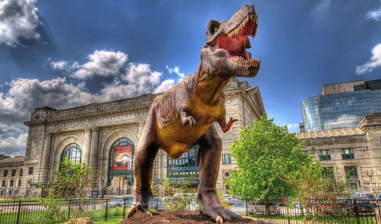 динозавры, sculpture, динозавра, близко, рептилии, музеем,