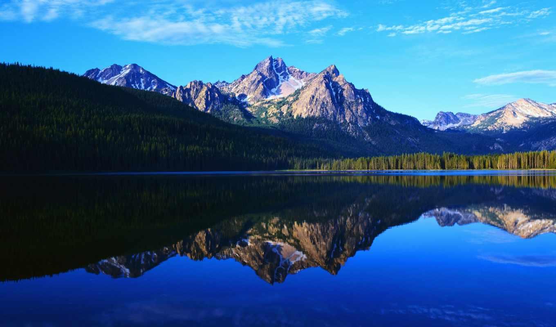 озеро, горы, вечер, природа, самозамеса, пейзажи -, castle, тракайский, landscape, литва, заставки,