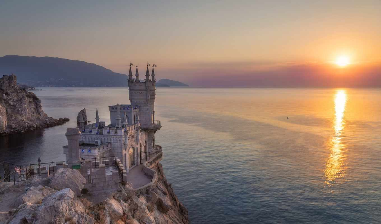 рассвет, природа, море, красивый, life, слово, landscape, castle, закат, проповедь
