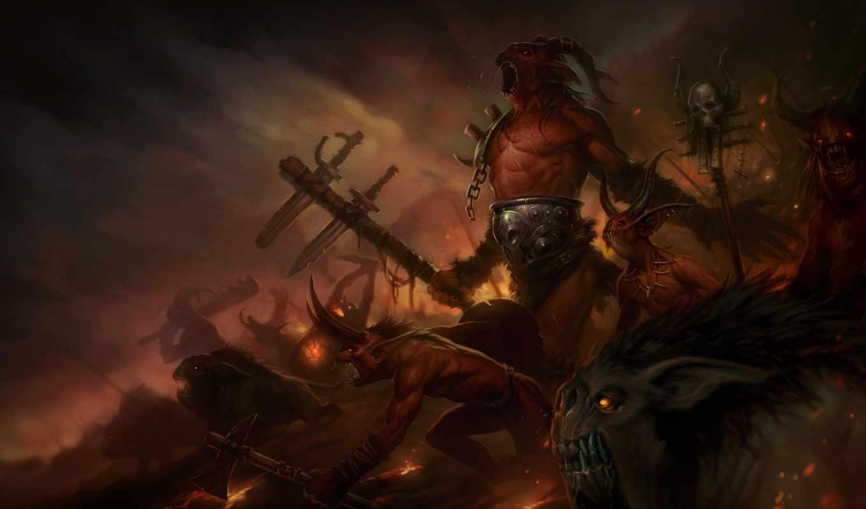 diablo, огонь, существа, война, демоны, iii, игры,
