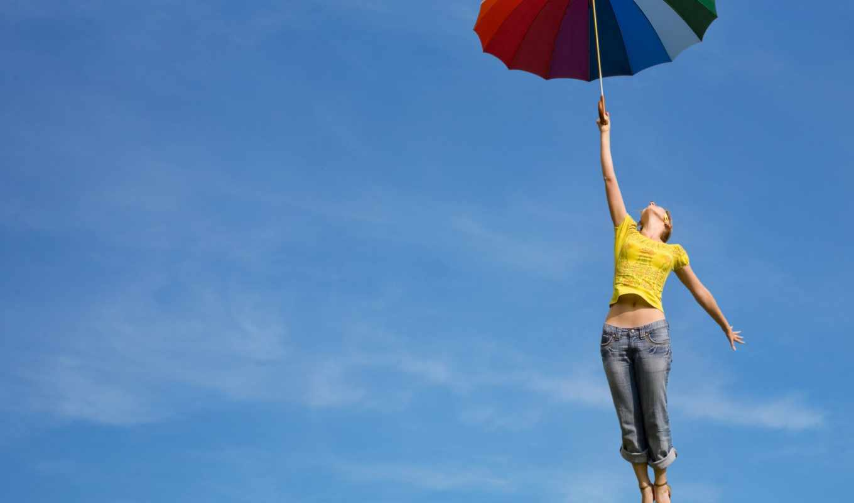 зонт, девушка, небо, полёт