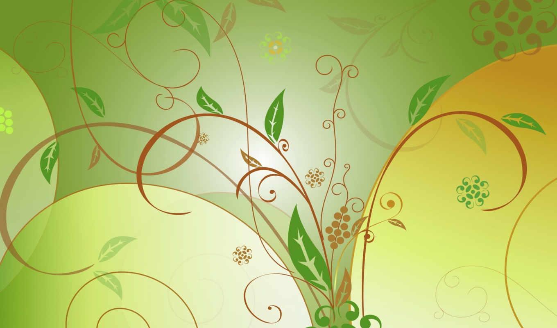 листья, зеленые, вектор, узор, зелень,