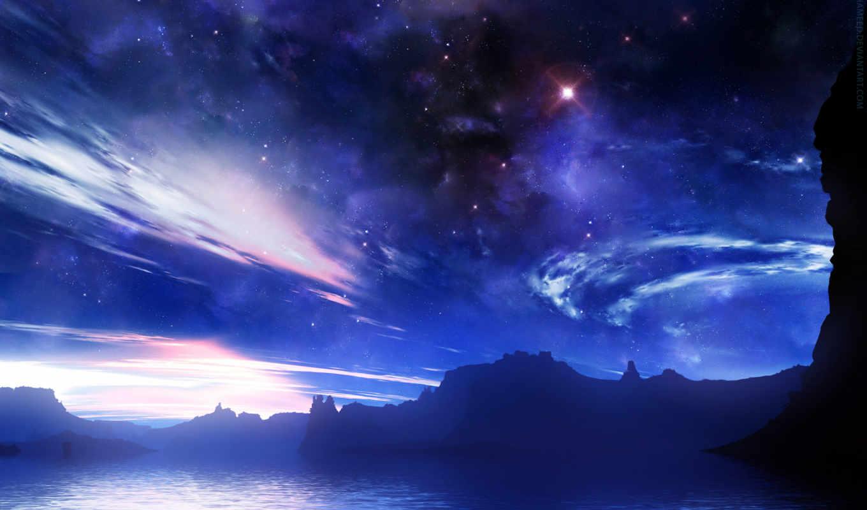 небо, облака, астрономия, звезды, фантастическое,
