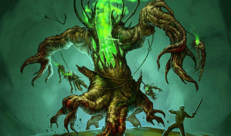 monster, дерево, fantasy, воин, нежить, монстры,