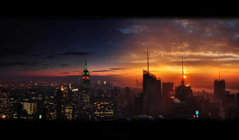 город, new, york, ночь, нью, взгляд, закат, water,