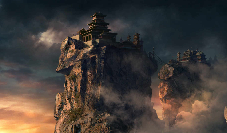 mountains, fantasy, wallpaper, castles, landscapes
