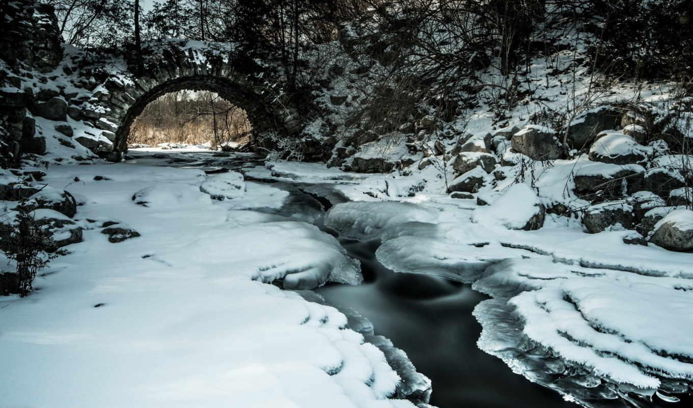 мост, сквозь, ручей, wooden, красивые, дек,