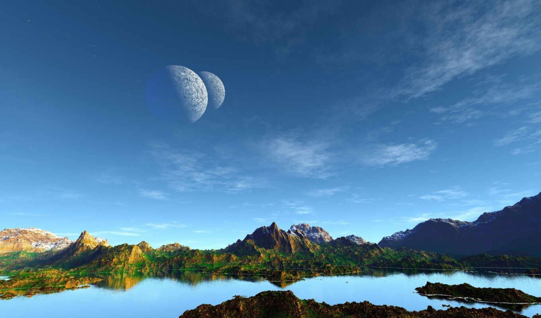 дек, планеты, озеро, art, landscape, небо, вид, горы,