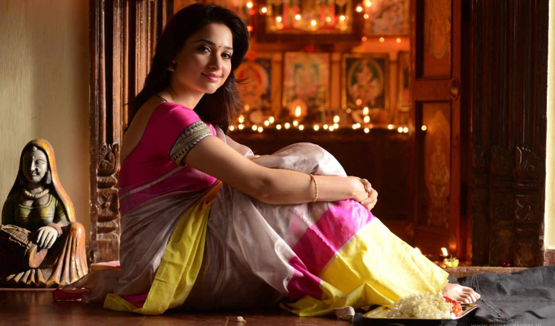 tamanna, bhatia, saree, актриса, tamil, desktop, free,