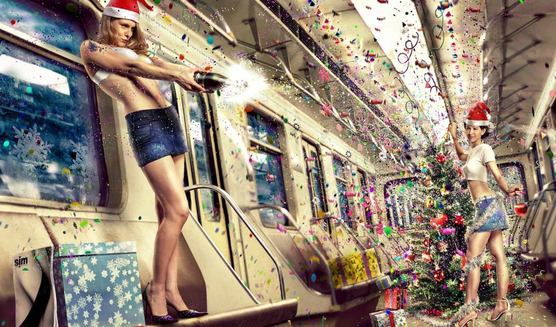 новый, год, метро, christmas, девушки, праздник, girls, widescreen, шампанское,