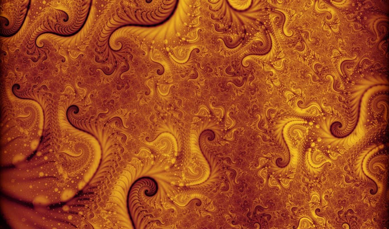 fractal, orange, узор, красиво, завитушки, желтый, download,