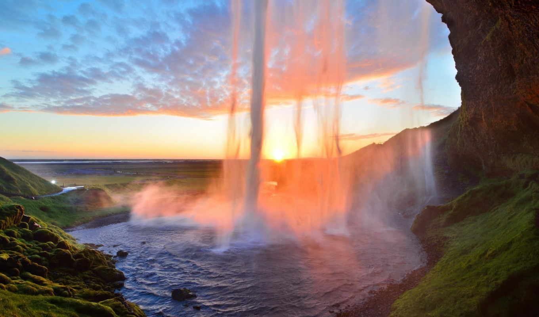 водопад, iceland,