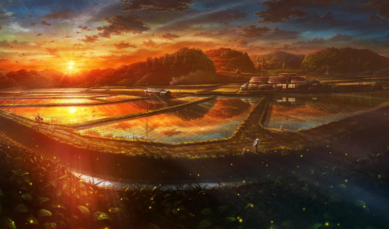 anime, landscape, пейзажи -, sun, картинка, закат, янв, вечер,