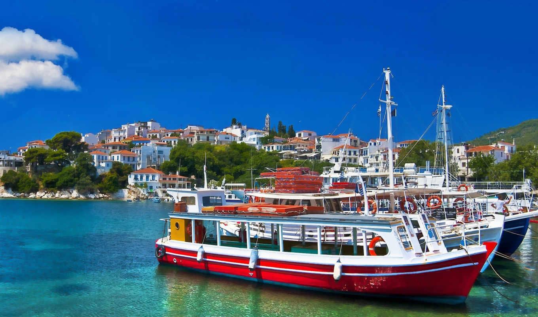 море, greece, природа, лодки, дома,
