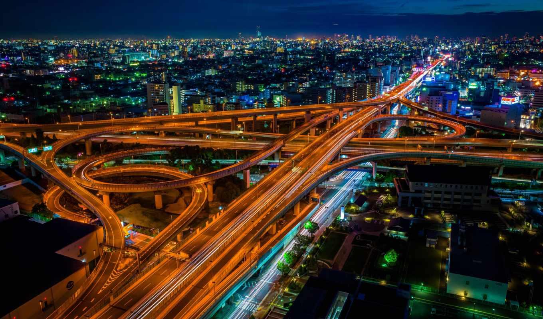 япония, города, город, ночь, осака, мира, японии,