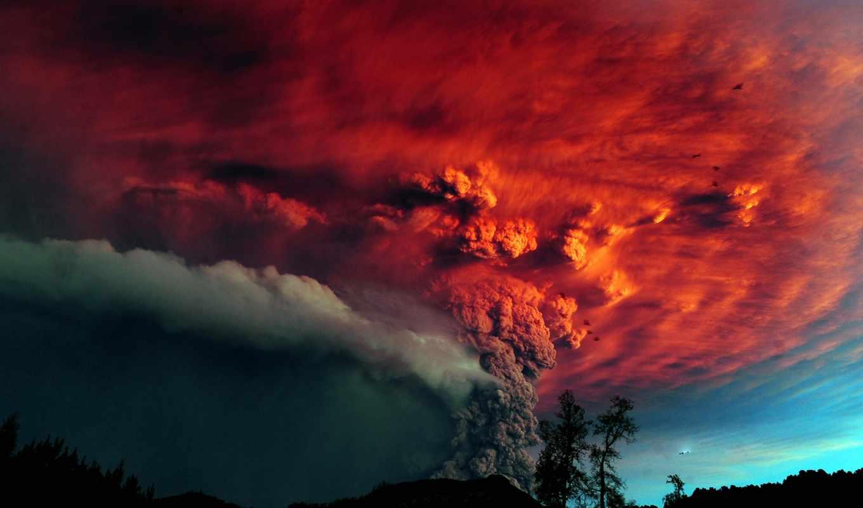 извержение, вулкана, вулкан, мощное,