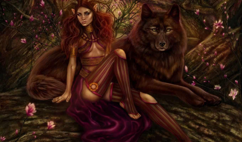 волк, девушка, art, лес, демон, рога, рыжая, демоница, trees, хищник,